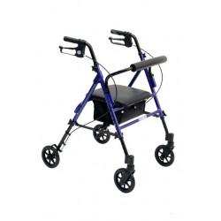Deambulatore /Rollator ROLLY-UP in alluminio con 4 ruote con sedile regolabile in altezza